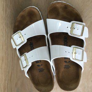 Birkenstock Shoes - White Patent Birkenstock Arizona